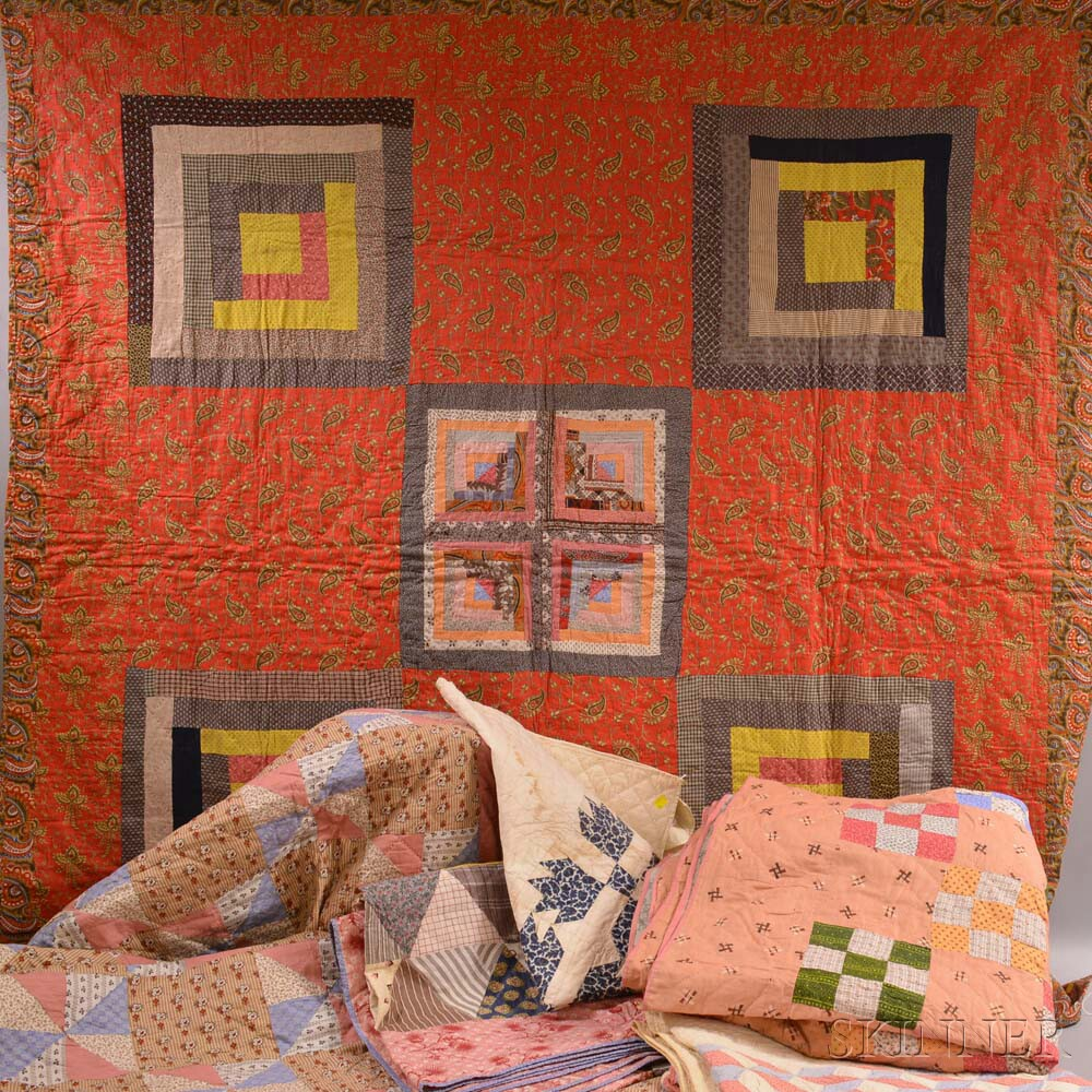 Six Appliqued Cotton Quilts