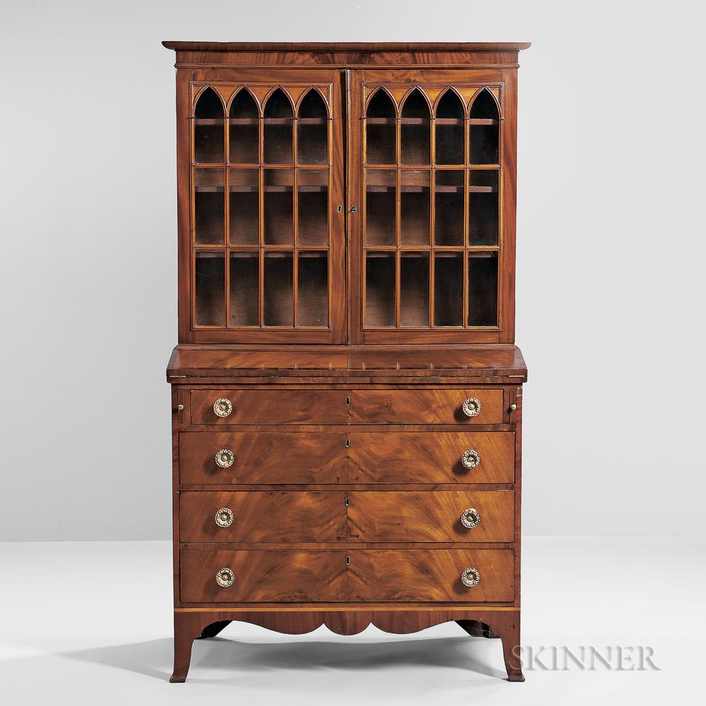 Mahogany and Mahogany Veneer Glazed Desk/Bookcase