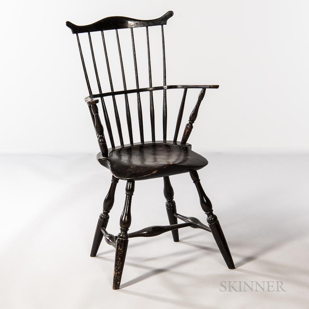 Black-painted Windsor Fan-back Armchair