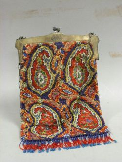 Beaded Paisley Pattern Purse with Sterling Silver Frame.