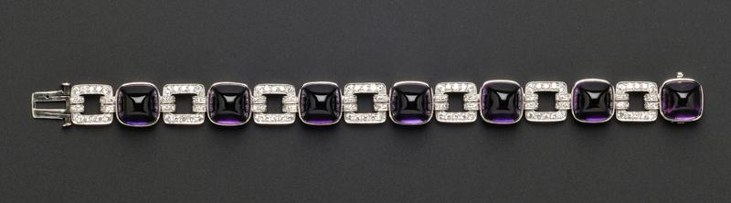 Art Deco Platinum and Amethyst Bracelet, Greenleaf & Crosby