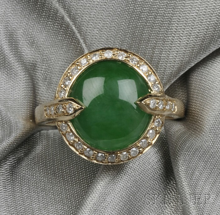 14kt Gold, Jadeite, and Diamond Ring