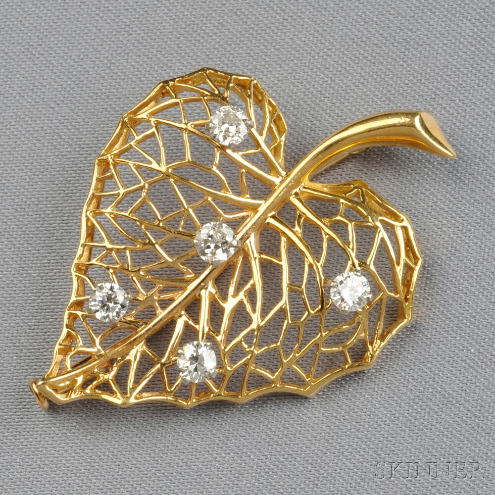 18kt Gold and Diamond Leaf Brooch, Cartier Inc.