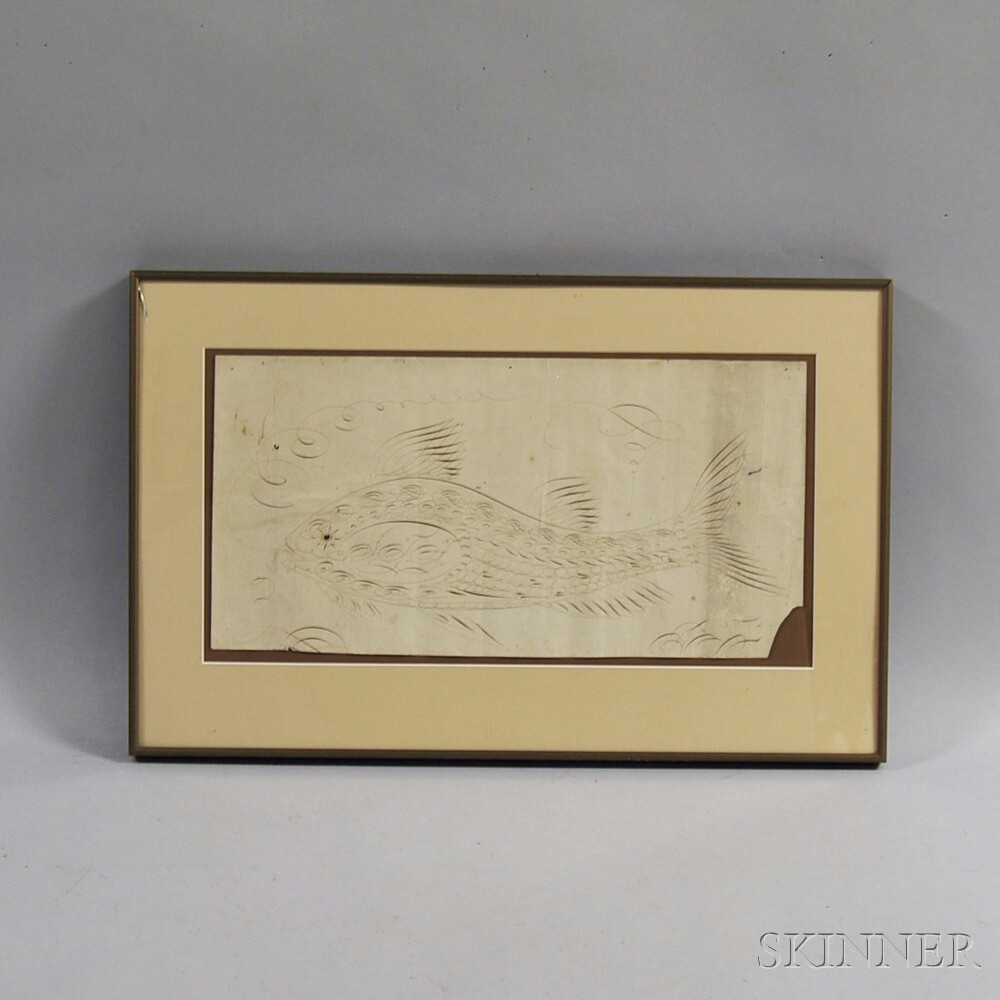 Framed Calligraphic Exercise Depicting a Fish
