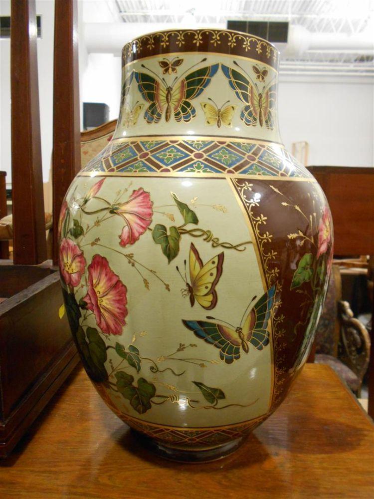 Pair Of Sarreguemines Japonesque Style Earthenware Vases Sale