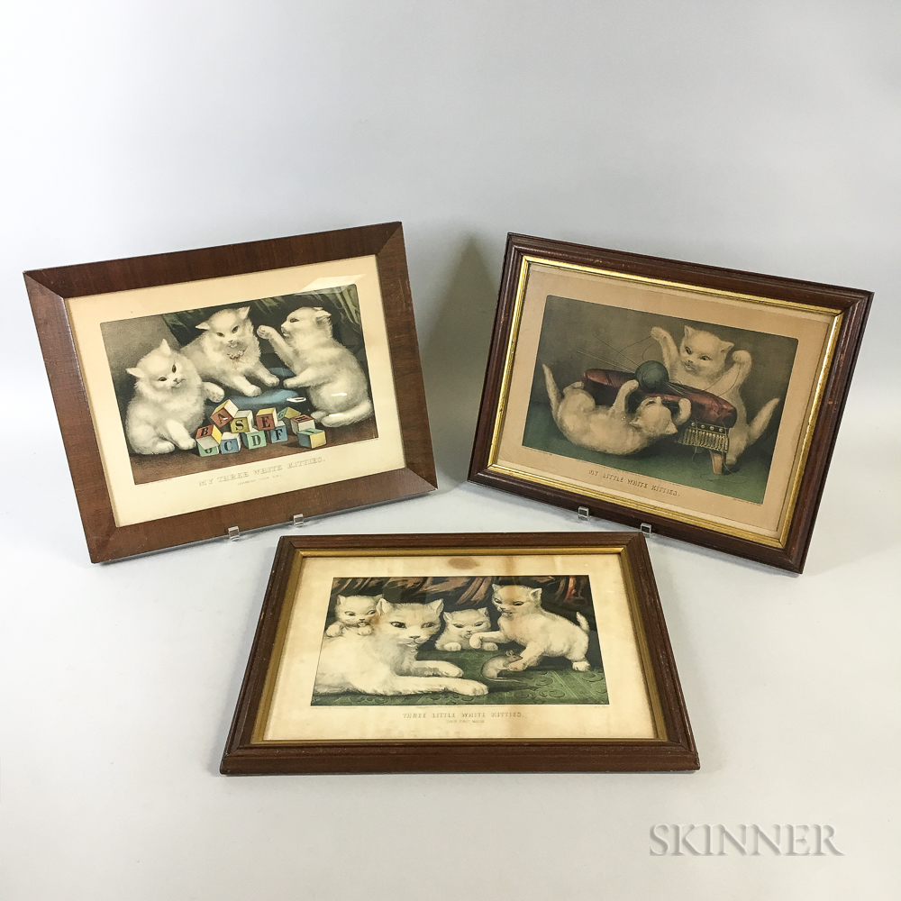 Three Framed Currier & Ives Lithographs of Kittens
