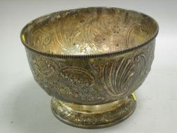 Early Victorian Sheffield Silver Repousse Punch Bowl.