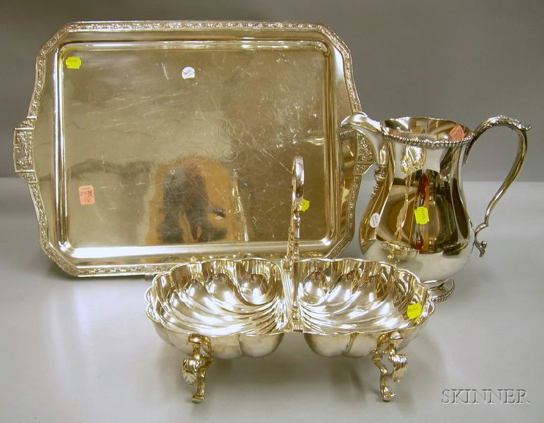 Silver Plated Serving Tray, Pitcher, and Two-part Shell-shaped Serving Dish.
