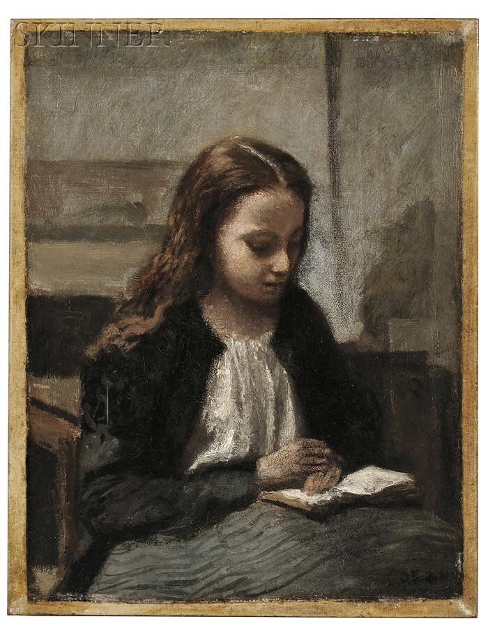 Jean-Baptiste-Camille Corot (French, 1796-1875)      Jeune fille assise lisant, les cheveux sur les épaules