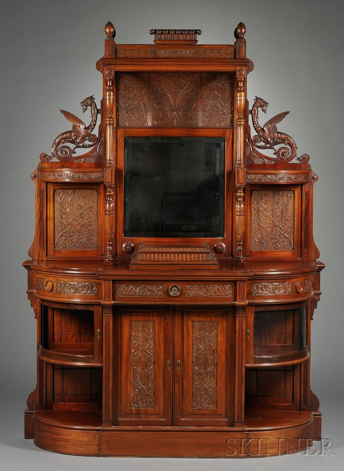 American Aesthetic Movement Carved Mahogany Two-part Sideboard