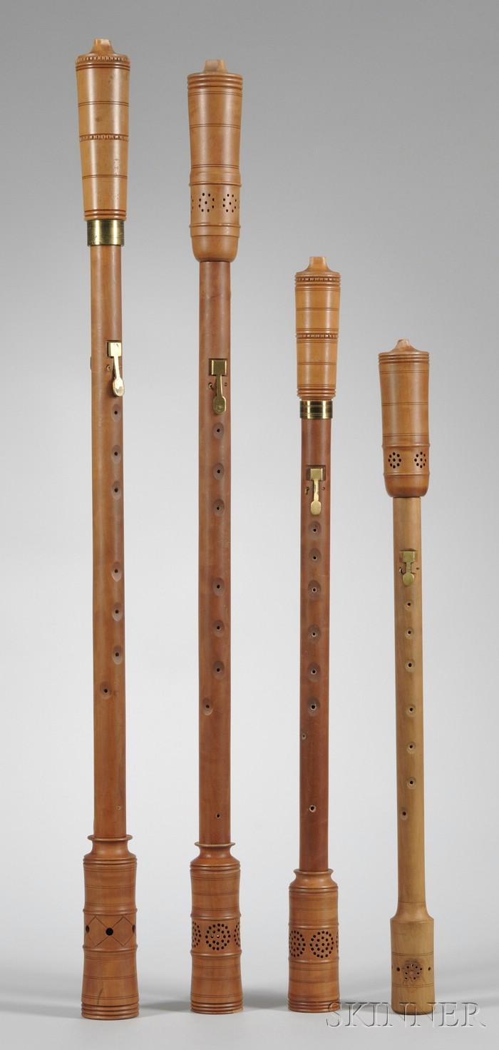 Four Boxwood Cornamuse Wind Instruments, Gunter Korber, Berlin