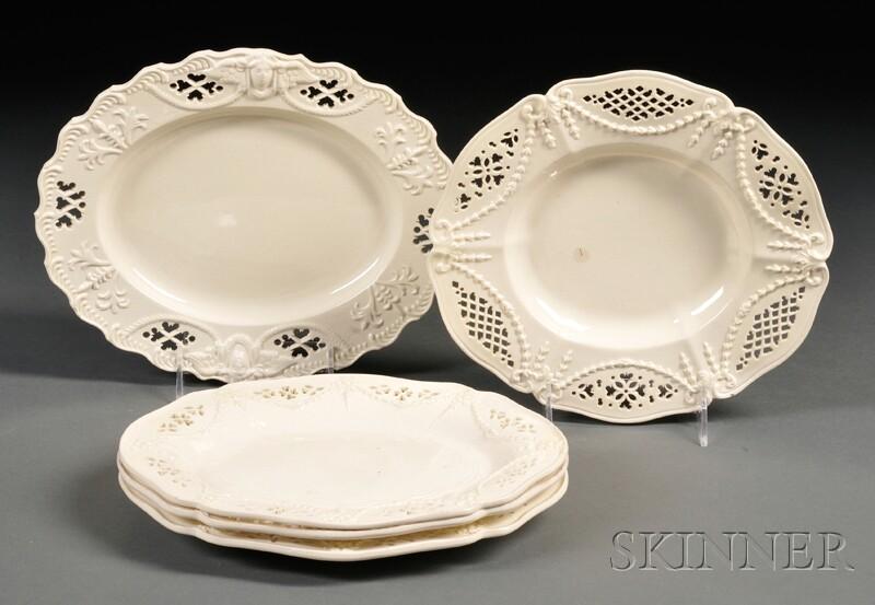 Five Pierced Creamware Oval Dishes