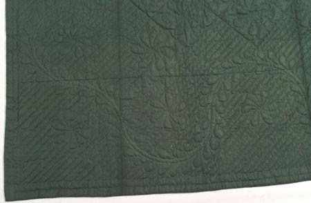 Dark Green Whole-Cloth Wool Quilt