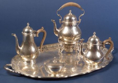 Gorham Sterling Queen Anne-style Five Piece Tea and Coffee Service