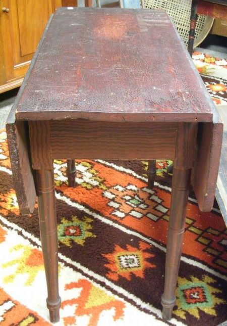 Red and Rosewood Grain Painted Drop-leaf Table.