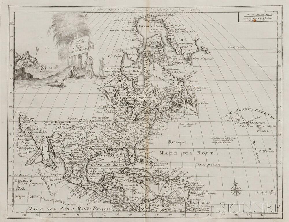 North America. Guillaume de l'Isle (1675-1726) Carta Geografica dell'America Settentrionale