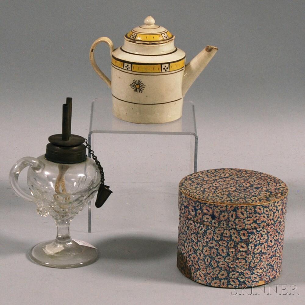 Small Hannah Davis Band Box, Creamware Teapot, and a Small Pressed Glass Hand Lamp