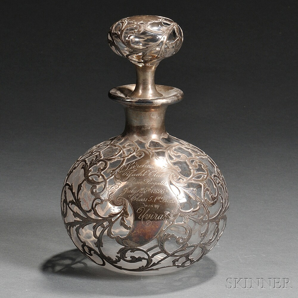 Whiting Sterling Silver Overlay Glass Larchmont Yacht Club Trophy Decanter