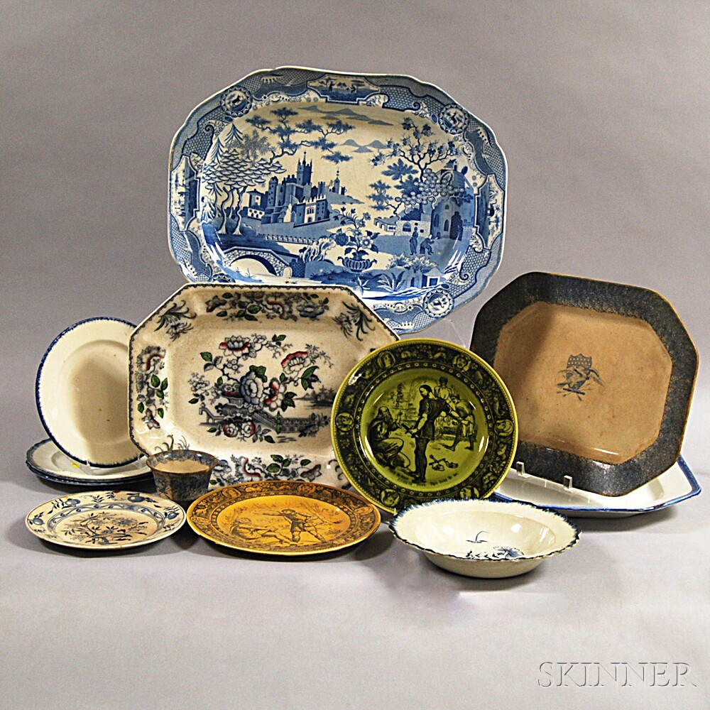 Twelve Pieces of Mostly Blue and White Transferware