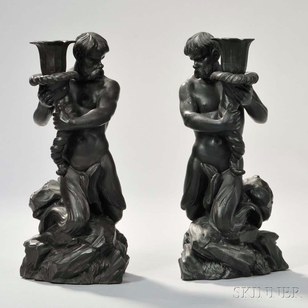 Pair of Modern Wedgwood Black Basalt Triton Candlesticks