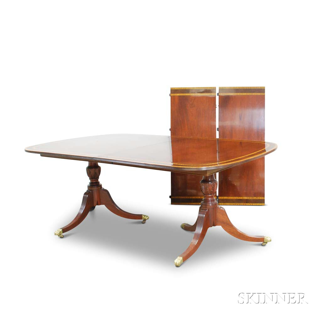 Federal-style Carved Inlaid Mahogany Double-pedestal Dining Table