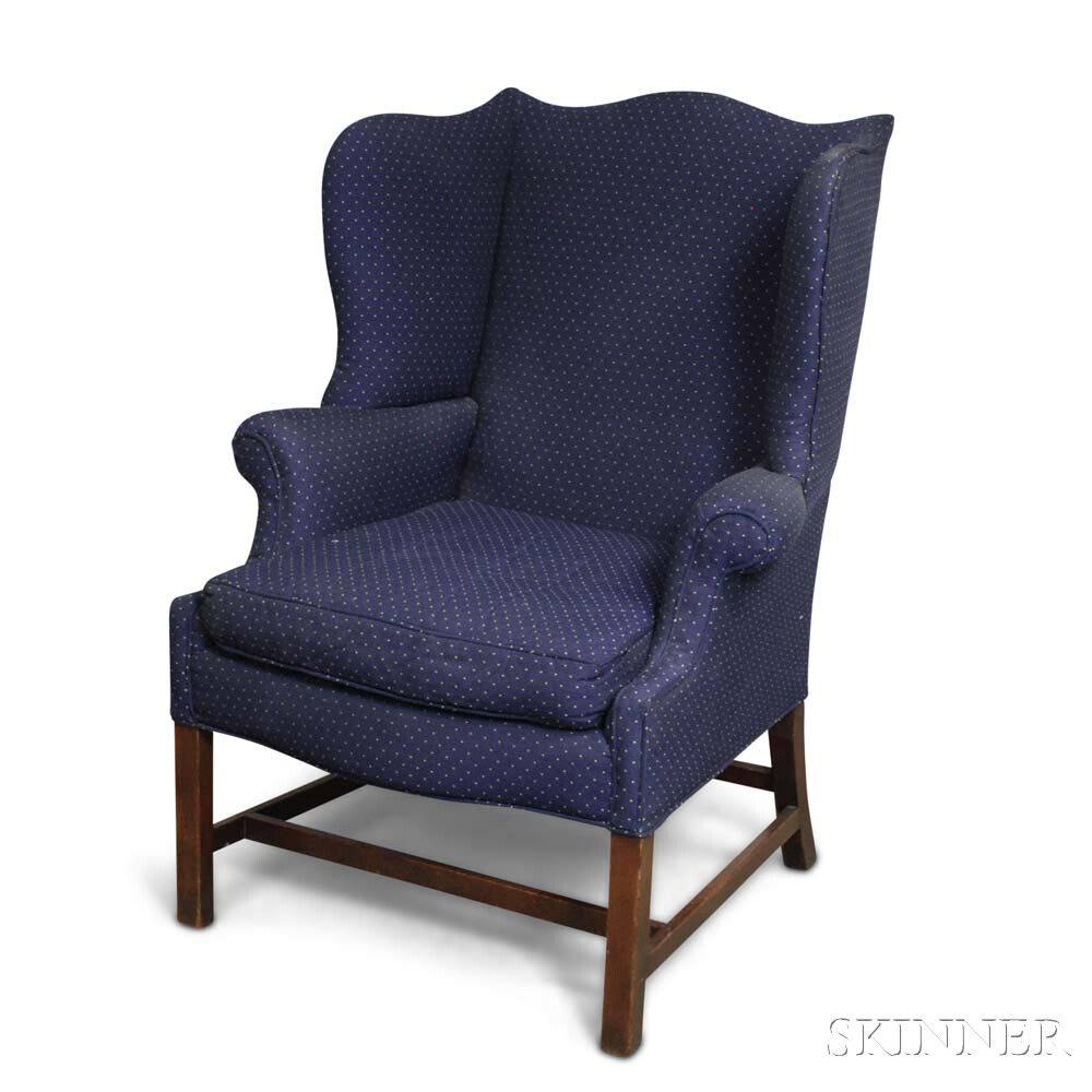 George III Upholstered Mahogany Wing Chair