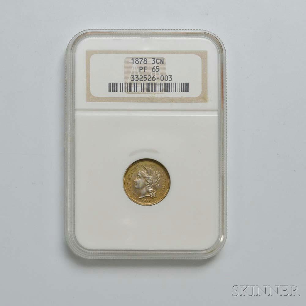 1878 Three Cent Nickel Trime, NGC PF65.     Estimate $600-800