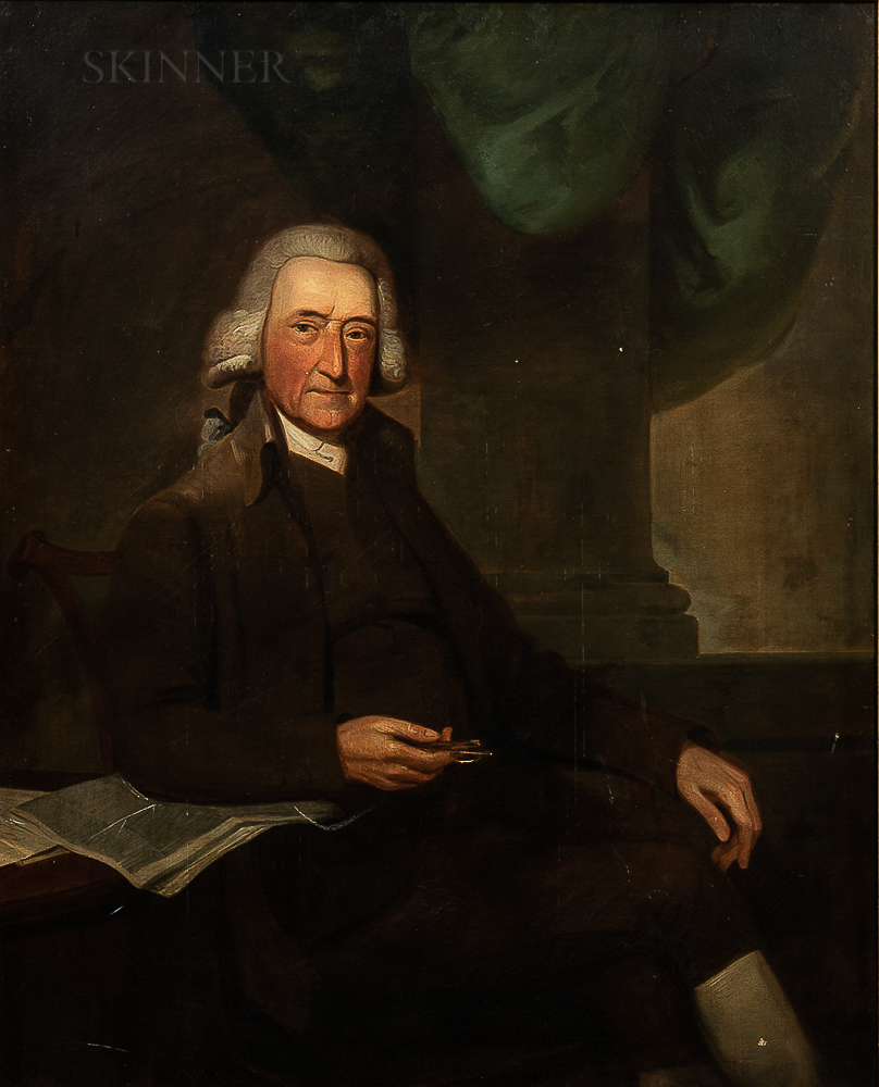 Anglo/American School, 18th Century      Portrait of a Venerable Wigged Gentleman Holding Spectacles