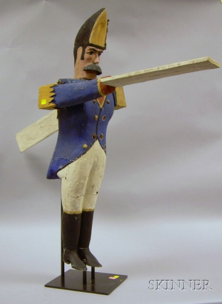 Folk Carved and Painted Wood and Tin Soldier Whirligig