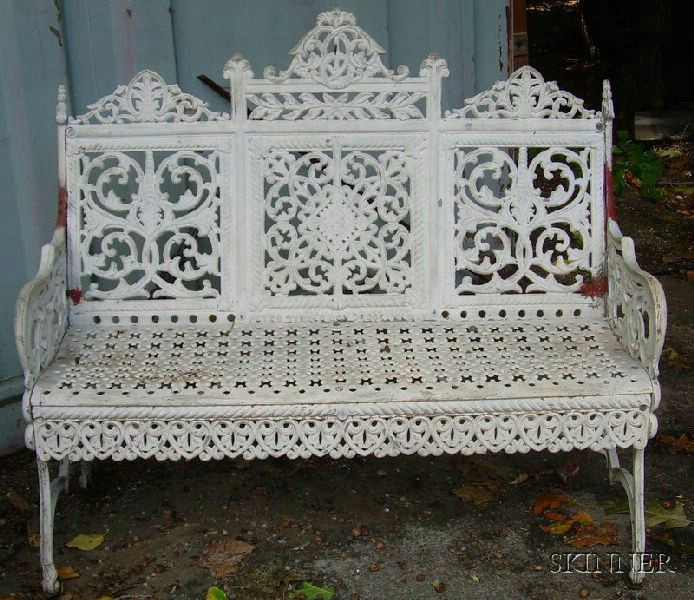 Cast Iron White-painted Settee.