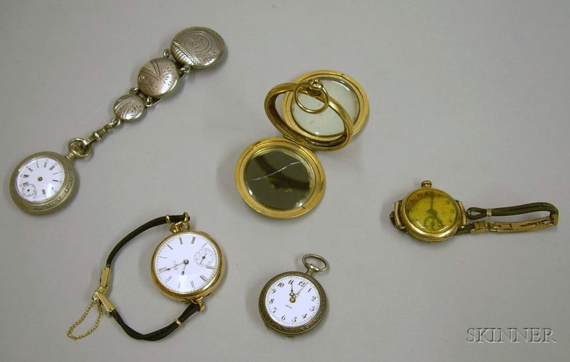 Two Lady's Gold-filled Wristwatches and Two .800 Silver Swiss Pocket Watches