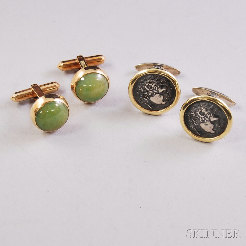 Two Pairs of 14kt Gold Cuff Links