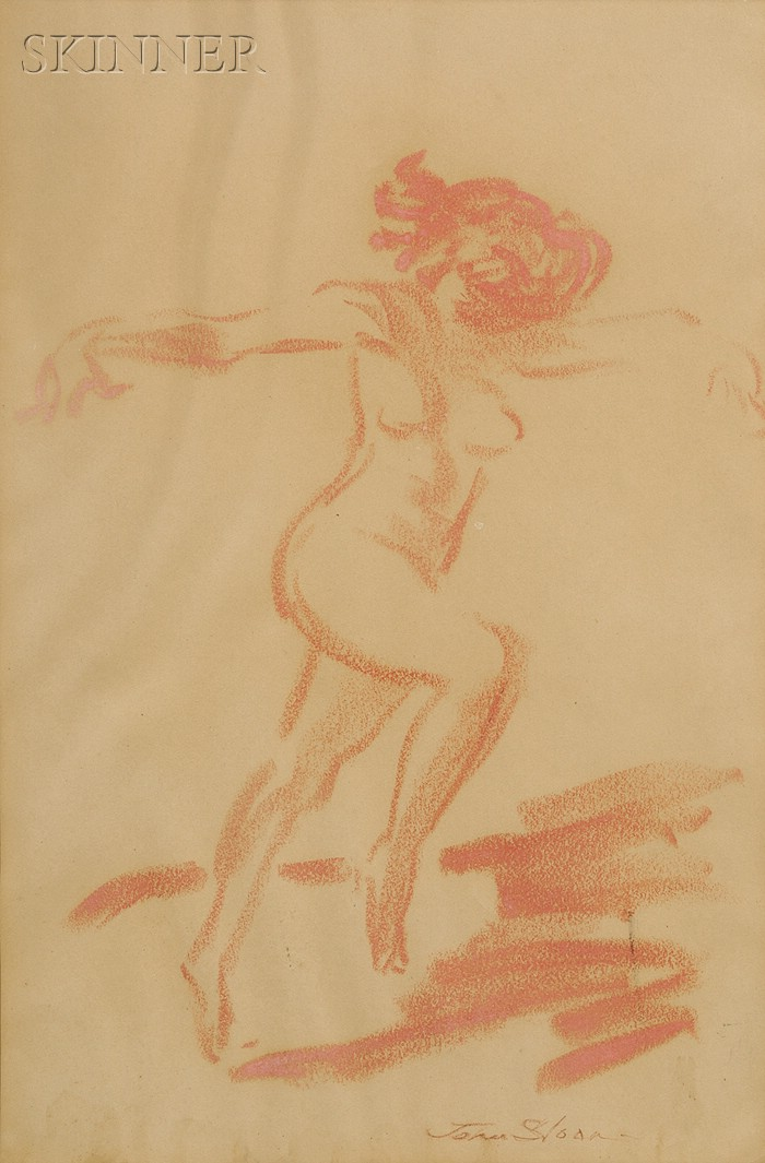 Attributed to John Sloan (American, 1871-1951)      Portrait of a Dancing Nude.