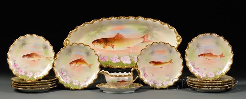 Fourteen-piece Limoges Porcelain Fish Service