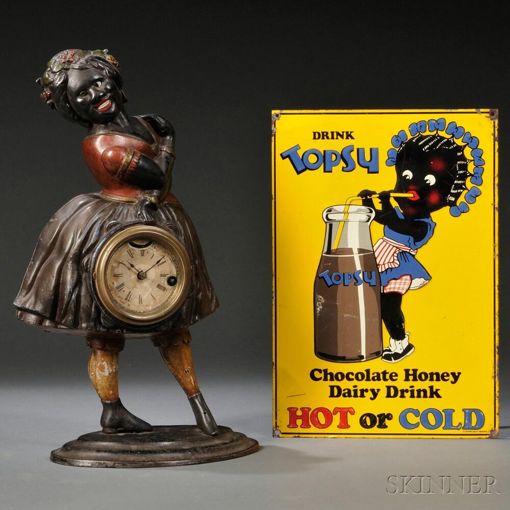Topsy Blinking Eye Clock and Tin Advertising Panel