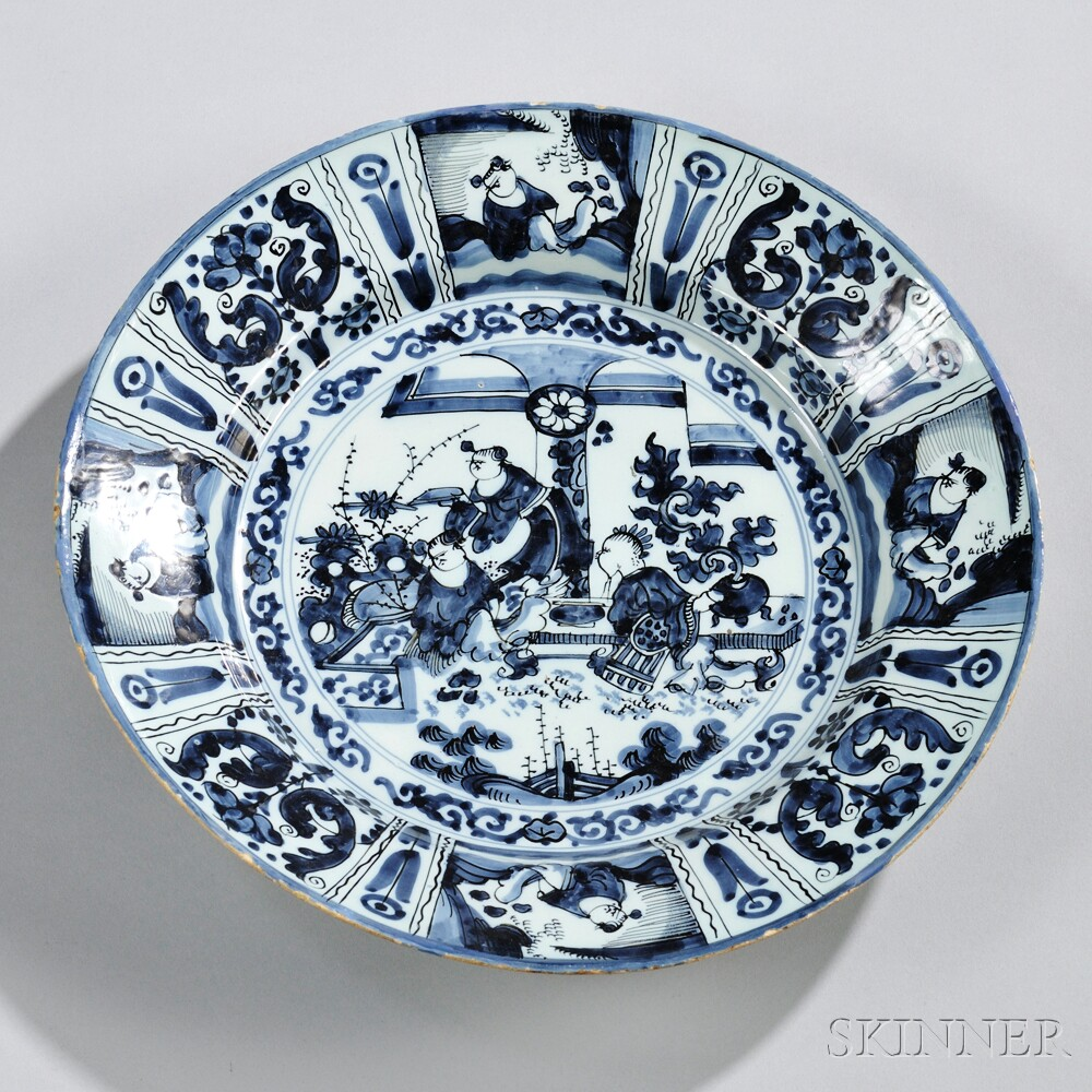 Dutch Delftware Blue and White Wan Li-style Charger