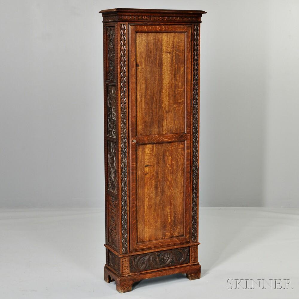 Renaissance Revival Carved Oak Cabinet