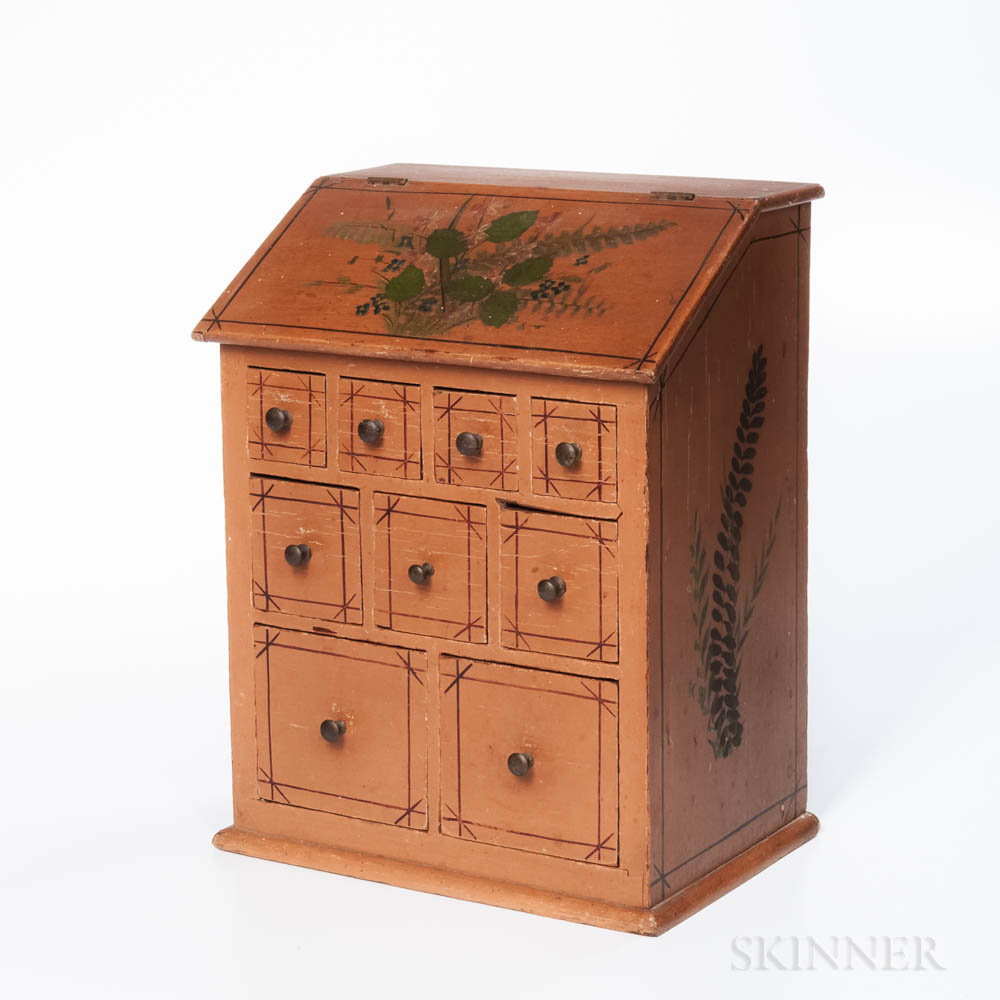 Miniature Paint-decorated Slant-lid Bin with Nine Drawers