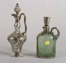 Two American Silver Overlay Decanters