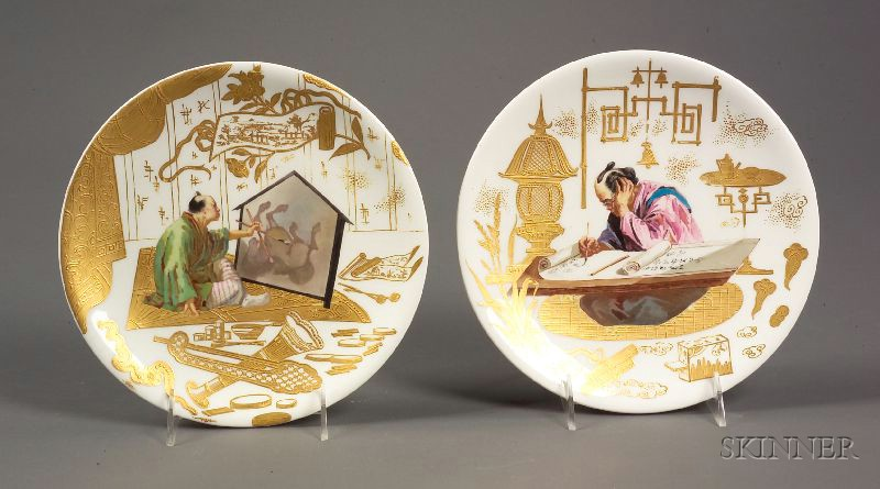 Pair of English Handpainted Japonisme Plates
