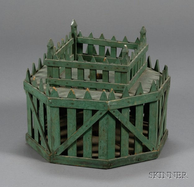 Christmas Tree Auction: Green-painted Victorian Feather Tree Christmas Tree Stand