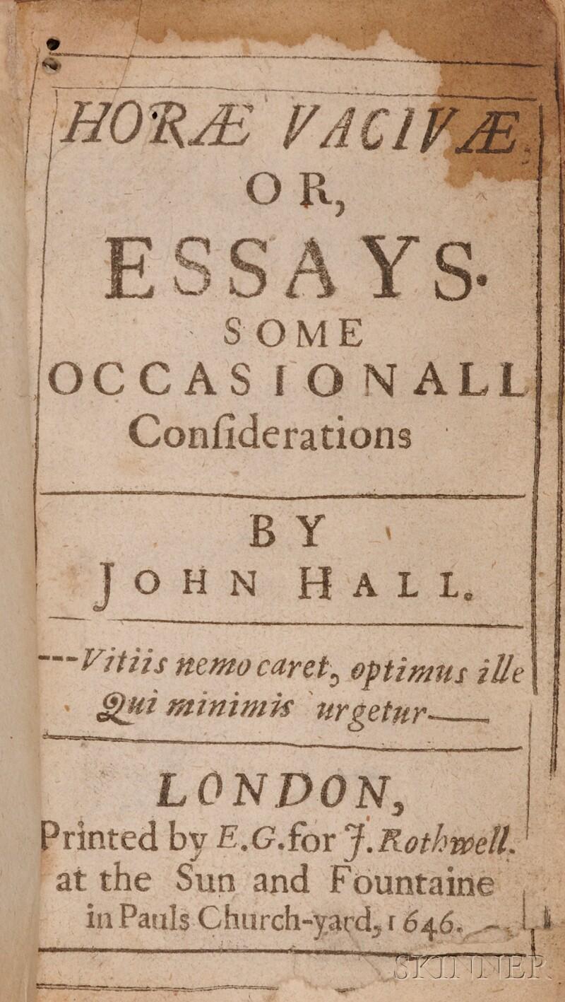 (Literature, English), Hall, John (1627-1656)