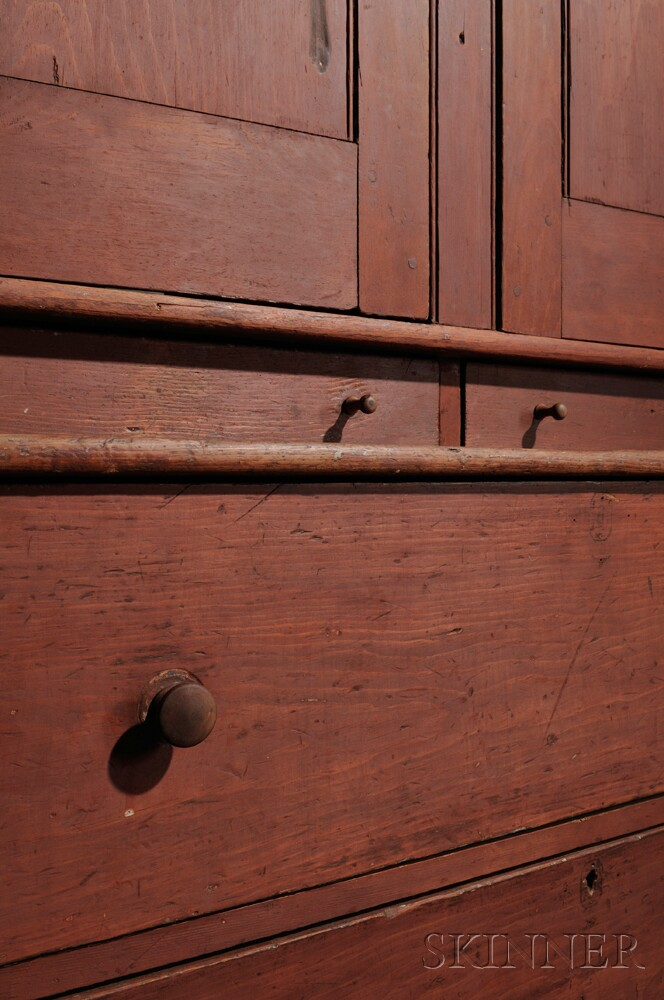 Shaker Red-painted Pine Cupboard