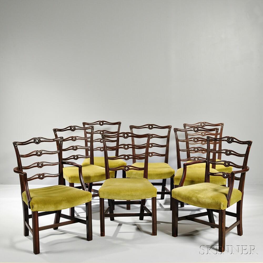 Eight George III Mahogany Ribbon-back Chairs
