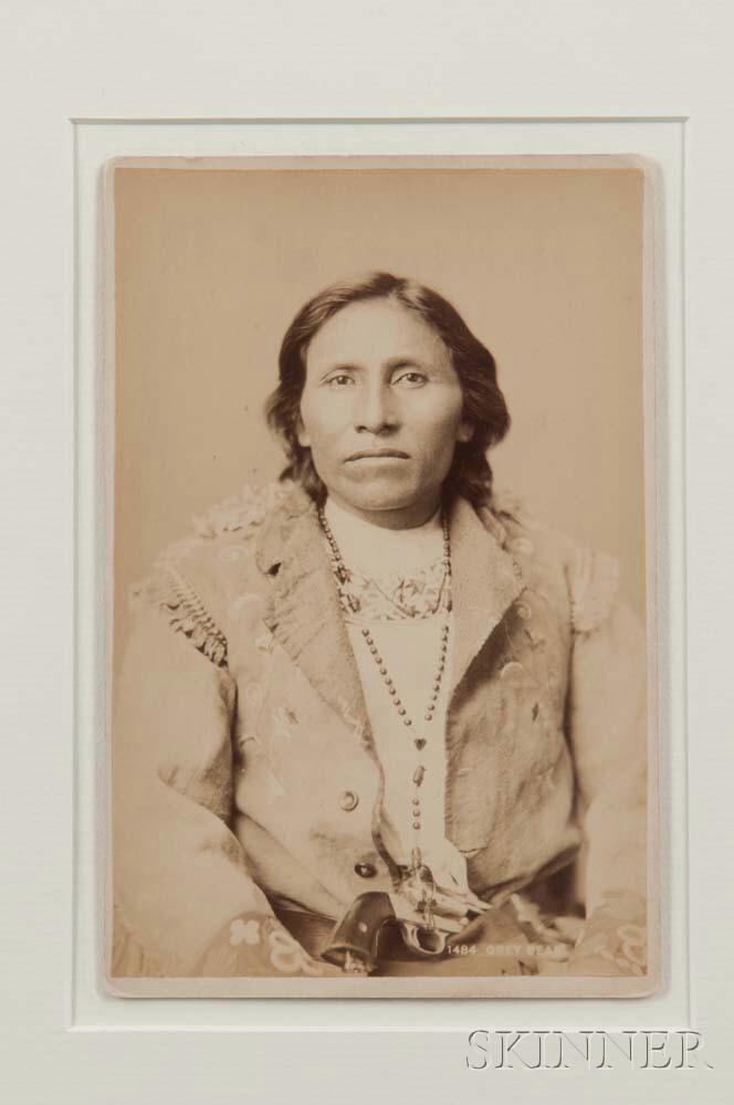 "Framed Cabinet Card Photograph of Chief ""Grey Bear"" by F. Jay Haynes"