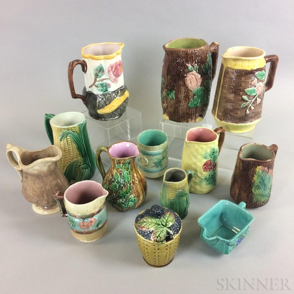 Thirteen Majolica Ceramic Vessels