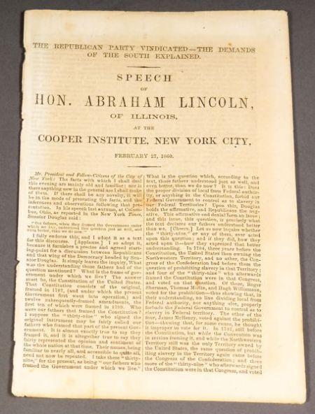 Lincoln, Abraham (1809-1865), Cooper Union Speech