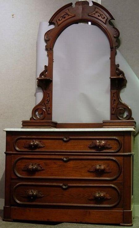 Victorian Marble-top Walnut Dresser with Mirror Frame.