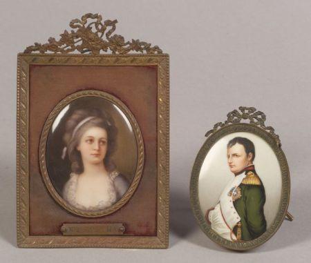 Two Framed Porcelain Portrait Miniatures