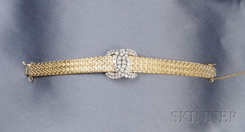Lady's 14kt Gold and Diamond Covered Wristwatch
